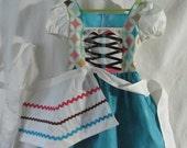 On Sale - Girl's Size 5/6 OctoberFest, Gretel, Heidi, Hobbit, German, Bavarian Dirndl: Dress & Apron, All Cotton Fabric, Ready To Ship Now