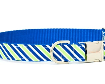 Crew LaLa™ Lime & Royal Rugby Stripe Dog Collar