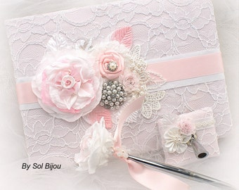 Guest Book, Baby Shower, White, Pink, Blush, Christening, Baby Girl, Birthday, Sign in Book, Vintage Style, Signature Book, Signing Pen