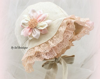 Sun Hat, Baby Girl, Blush, Pink, Peach, Cream, Linen Hat, Baby Vacation Hat, Girl Hat, Baby, Baby Bonnet, Linen Bonnet, Crystals, Brooch