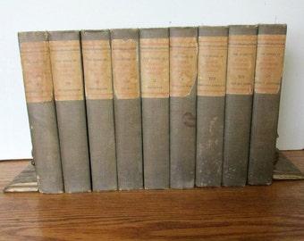 Antique Books, James Fenimore Cooper, Nine Volumes, Twentieth Century Edition, Hard Cover, Collectible Books, Display Books