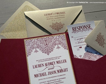 Moroccan Border Wedding Invitation Sample | Flat or Pocket Fold Style