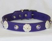 "Purple Leather Dog Collar, Fancy Leather Dog Collar, Large Leather Dog Collar, Poodle Collar,  17"" - 19"" neck or custom"