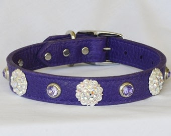 "Purple Leather Dog Collar, Fancy Leather Dog Collar, Large Leather Dog Collar, Poodle Collar,  17"" - 20"" neck or custom"