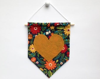 Mini Banner with Navy Floral Print Fabric and Mustard Yellow Felt Heart