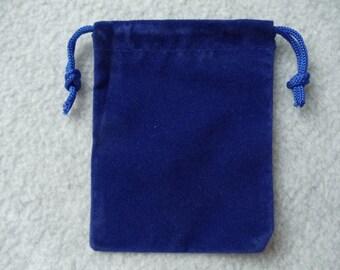 Blue Velvet Drawstring Pouch 3X4 Inch Set of 4 Blue Velvet Bags (Pouch1 Blue)