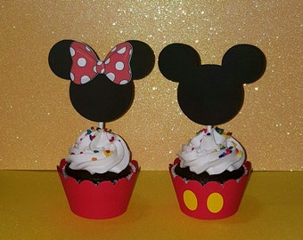 12 Mickey Cupcake Toppers - Minnie Cupcake Toppers - Minnie Mouse Birthday