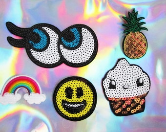 emoji iron on patch sequin patches embroidered pineapple cupcake happy face 5 set