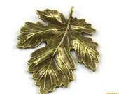 10Pcs Antique Brass Maple Leaf Charm Maple Leaf Pendant 37x35mm (PND1390)
