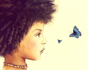 blue butterflie and child art print