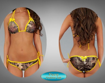 Sexy Custom made to fit hunter camo print with sworovski rhinestone bows  scrunch butt bikini swimsuit swimwearfrom XS - L by AMD Bikini