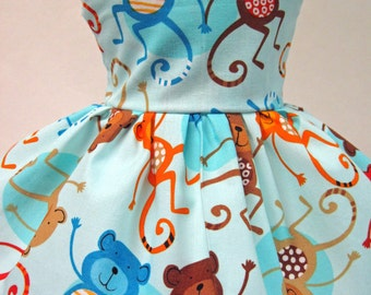 Jungle Monkeys, Blue Dress for your American Girl Doll B