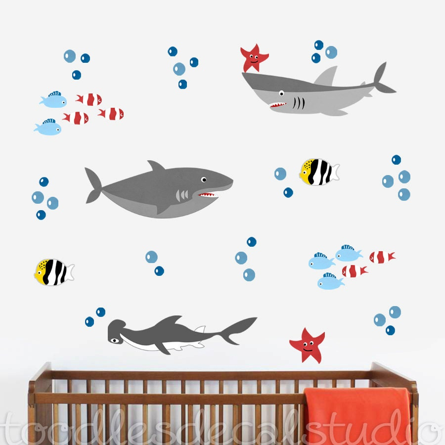 sharks wall decal reusable fabric shark decals peel and. Black Bedroom Furniture Sets. Home Design Ideas