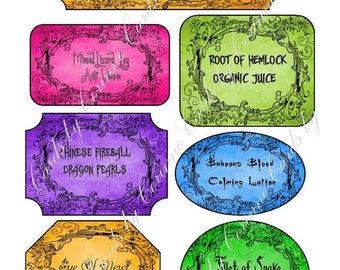 ON SALE Instant digital download 7 Halloween bottle labels stickers apothecary