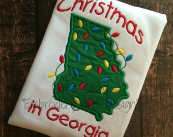 Christmas in Georgia - Embroidered and Personalized Shirt - Colors can be changed