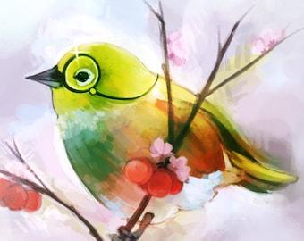 Silvereye (Waxeye) New Zealand Songbird CROSS STITCH PATTERN, Original Artwork by GraniteFire