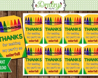 INSTANT DOWNLOAD: Art Party Crayon Thank You Tags (TG017)