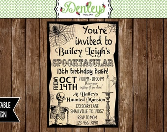 Haunted invitations, Skeleton Invitation, Halloween Birthday Invitation, Teenager Halloween Invitation (HA02)