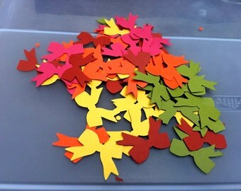50 FALL  BOW TIES punches red, green, orange, yellow and rust  Punched Die Cuts Confetti, Birthday party Invitations,scrapbooking, cards