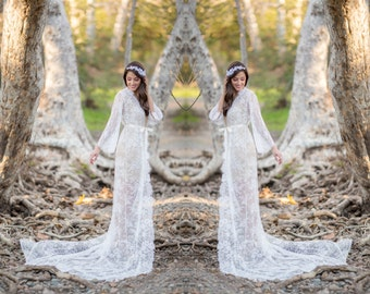 Extra Long French Lace Robe for Bride, A must-have for every bride to be