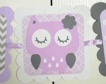 Owl It's a Girl Banner, Pink Owl Banner, Owl Baby Shower, Owl Nursery, Owl Banner, Lavender, White and Gray, Chevron, IAG-LG-2216