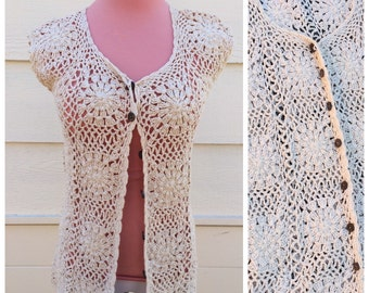 Vintage cream 90s crochet womens summer cardigan size medium