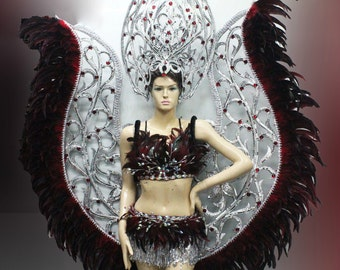 Vegas Showgirl Burlesque Festival Cabaret Bat Wings Costume Set