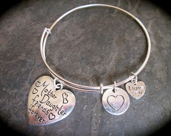 Mother Daughter Friends Forever Adjustable Bangle Bracelet with heart charms Gift for Mom