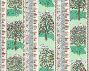 Fat eighth Forest Stripe B Liberty print, forest and colouring pencil design Liberty of London tana lawn