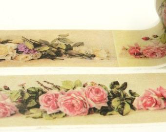 Rose Deco - Japanese Washi Masking Tape - 30mm wide - 5.5 yards