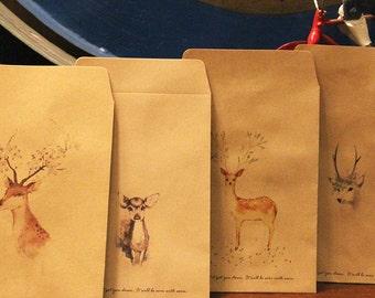 Dear Deer - Kraft Paper Envelope Set -11cm x 16cm - 4 Sheets in different designs