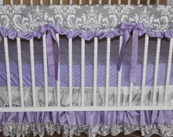 Bumperless Crib Bedding Set Lacie - Girl Baby Bedding, Lavender Crib Bedding, Gray Baby Bedding, Scalloped Crib Rail Cover, Ruffle Skirt