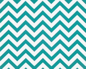 1 Yard Turquoise Chevron Fabric - Premier Prints Fabric - True Turquoise and White Zig Zag - Fabric by the Yard