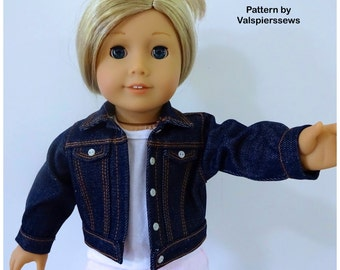"1824 Valspierssews 18"" Doll Clothes Pattern, Denim Jacket, Fits the American Girl Dolls, Loosefit Range, Instant download PDF"