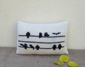 Decorative Bird Lumbar Pillow / Knit Organic Wool Pillow Case / Natural White Embroidery Pillow / Rustic Home decor / Cushion Cover 12 x 16