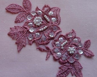 Vintage Appliques - Five Beautiful matching deep Rose colored, each has 2 flowers and leaves, tiny pearl and sequin trim, nylon backing