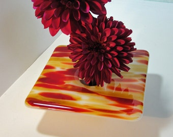 Fused Glass Ikebana Vase, Amber & Red Flower Holder, Table Vase, Rose Bud Vase, Gifts for Him or Her Under 50 Dollars, Vase with Pin Frog