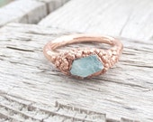 Rough Aquamarine Ring | Electroformed Mineral Jewelry | Raw Stone Jewelry | Raw Stone Ring | Aquamarine Jewelry | Unisex Jewelry