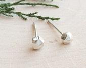 Faceted Pebble Earrings | Sterling Silver Studs | Minimal Jewelry | Simple Earrings | Modern Jewelry | Geometric