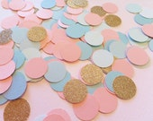 "CONFETTI Pink, Blue & Gold Glitter 1"" Circles ~ 100 Pieces ~ Baby Shower ~ Birthday Table Scatter"