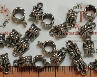 24 pcs per pack 8x7mm Large Hole Tube with 3mm Loop Antique Silver Lead Free Pewter