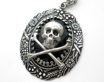 Jet Black Glass Pendant Skull and Crossbones in Antiqued Silver