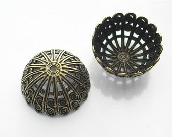 Large 20mm Bead Caps - Antiqued Brass Filigree - Five Pieces