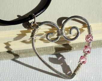 Pink Heart Necklace, Sterling Heart, Silver Wire Heart Necklace, Black Leather Necklace, Wire Wrapped Heart Swarovski Necklace Heart Pendant