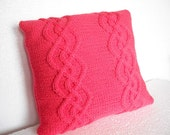 Decorative pillow. cable knitted pillow cover. Throw Pillow Cover, red Knit Pillow Case, Hand Knit Cushion Cover, Home Decor.