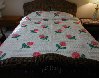 Sale - Adorable Handmade Vintage Chenille Bedspread with Hot PINK Pop Flowers and Off-White POPS - Free Shipping