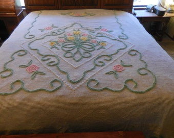 Sale - Beautiful Vintage NOS White Chenille Bedspread with Pink and Yellow Flowers, Green Leaves and Scrolls and White POPS - Free Shipping