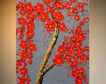 SALE ORIGINAL Modern Art Abstract Painting Wall Decor Red Blossom Tree Painting Texture Art palette knife Mixed Media acrylic painting