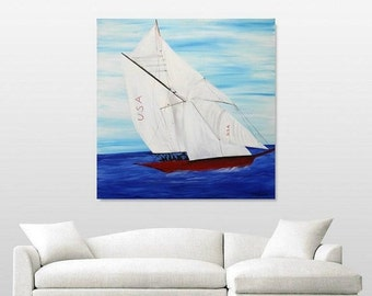 """Sale Oil seascape painting Abstract Original Modern 36""""x36"""" Yacht painting by Nicolette Vaughan Horner"""