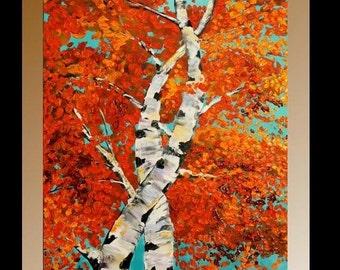Sale XL Original Birch Trees Painting Landscape Autumn  Aspen Birches,  Palette Knife,Oranges,Reds, Golds,Blues by Nicolette Vaughan Horner